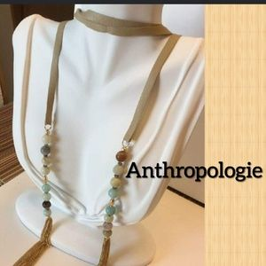 Nwt Anthro Leather Lariat/Amozonite & 18kTassel